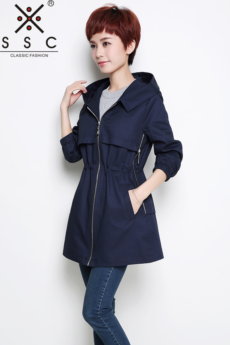 SSC Spring Autumn Hooded Trench Coat Plus Size 4XL 5XL Slim Leisure Women Trench Twill Cotton Adjustable Waist Female Coat 8064 blue hooded trench coat with drawstring waist