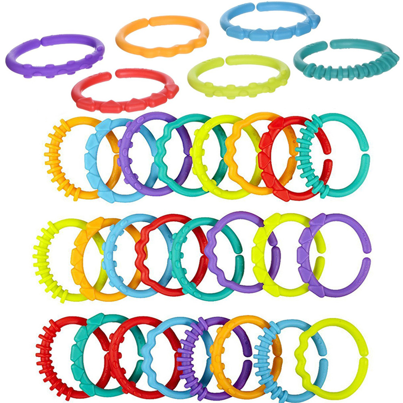 New 24Pcs Baby Teething Ring Colorful Rainbow Rings Stroller Gift Decoration Toys