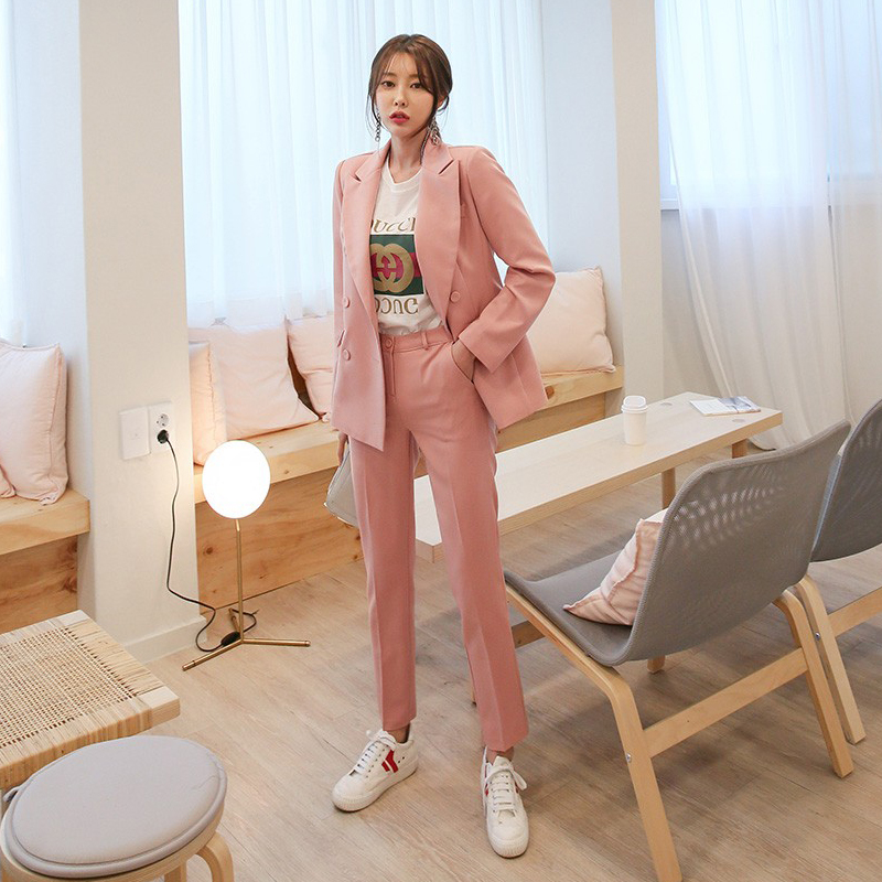 Women's suits 2019 spring new women's British wind double-breasted small suit jacket casual trousers two sets of interview suits