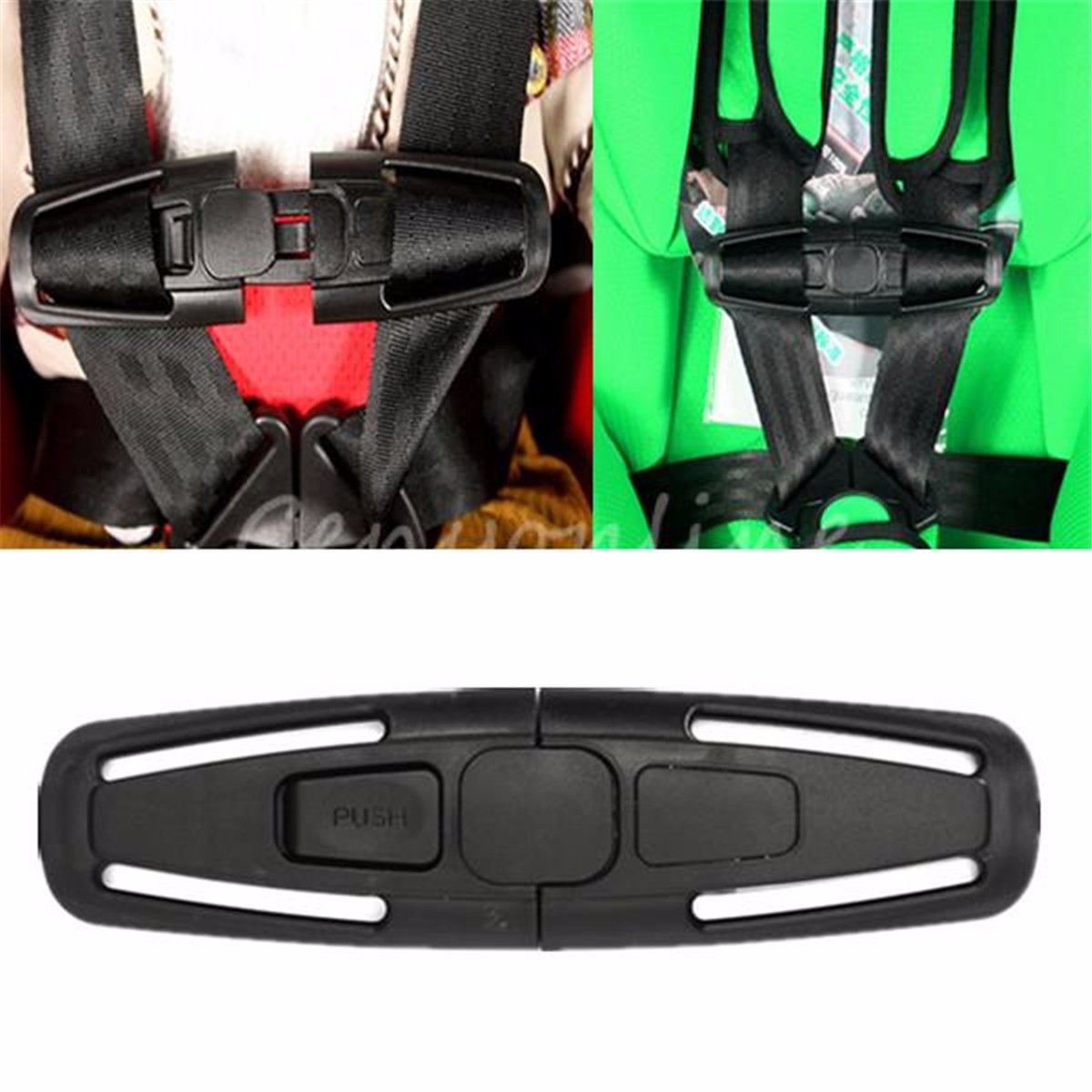 Car Baby Safety Seat Strap Belt Harness Chest Child Clip Buckle Latch Black Nylon 14.5 x 4cm