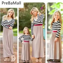 Mother Daughter Dresses Family Matching Outfits Stripe Long Sleeve Mommy Dress Look Clothes Outfit C70