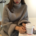 Fashion 2017 Sweater For Women Pullovers Loose Tops Bat Sleeve Casual Women Sweater Thick Turtleneck Sweaters Female 4 Colors
