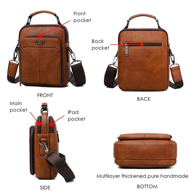 JEEP BULUO Big Brand Men Handbag Crossbody Shoulder