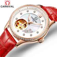Carnival Watch Women Hollow Automatic Mechanical Luminous Gold Stainless Steel Waterproof Red Leather Girls Watches