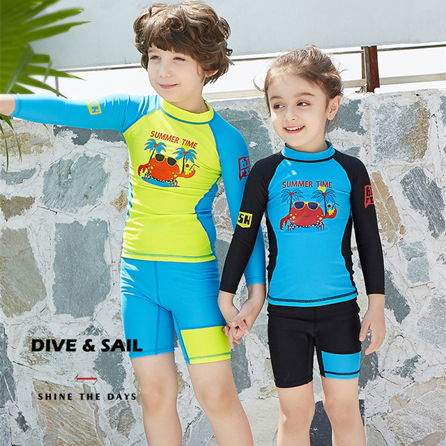 Best Price High Quality Boys Girls Wetsuit 2 pieces Swimwear Children's  Long Sleeves UV protection Breathable