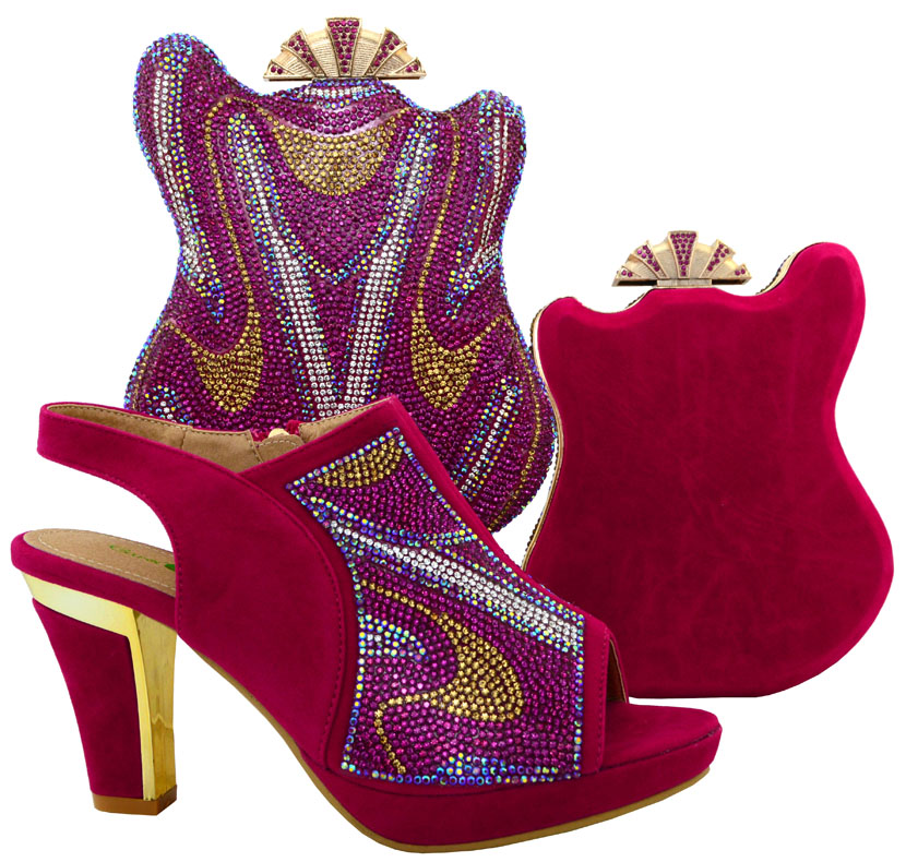 ФОТО fuchsia New Arrival Italian Shoes With Matching Bags African Women Shoes and Bags Set Free Shipping   HJT1-15
