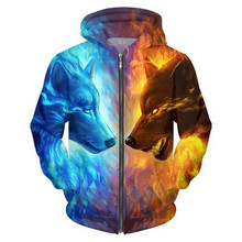 2017 Men/Women Funny 3D Hoodies Mens Animal Ice and Fire Wolf 3D Printed Sweatshirt Fashion Casual Thin Jacket Men Plus Size 5XL
