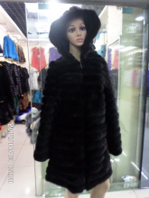 85 cm length mink added pigskin long sleeve hooded fur coat