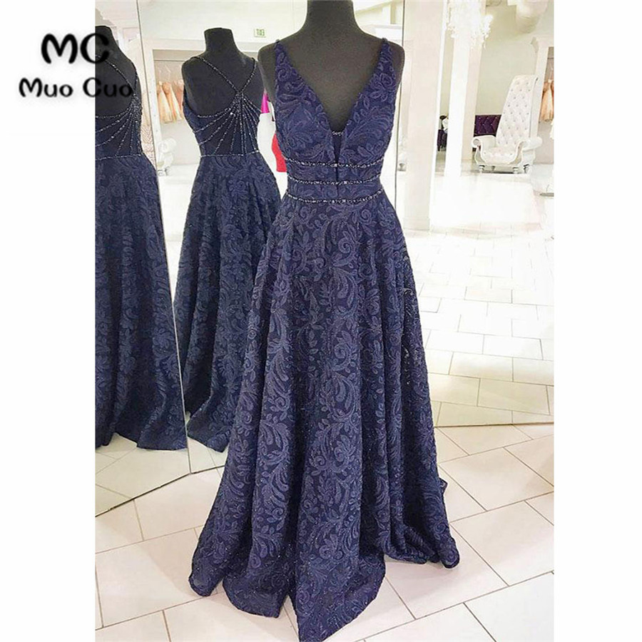 4beee82ae6a7 2018 Navy Blue Prom Dresses Long Double Deep V-Neck Lace Tank Vestido Longo  Crystals