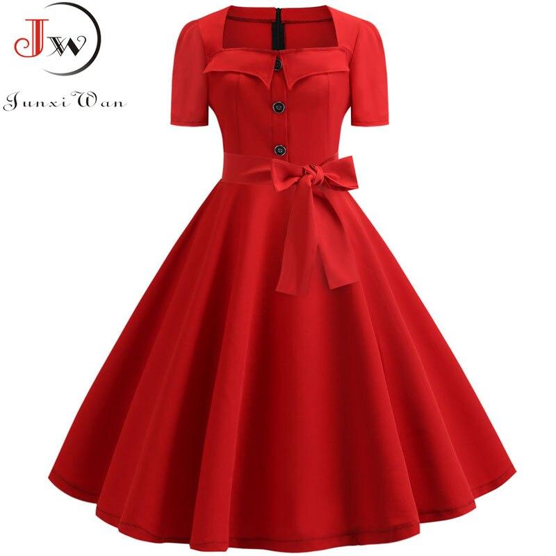 Vestido de verão feminino 2019 elegante retro vintage 50s 60s robe rockabilly swing pinup vestidos casuais plus size festa vermelha