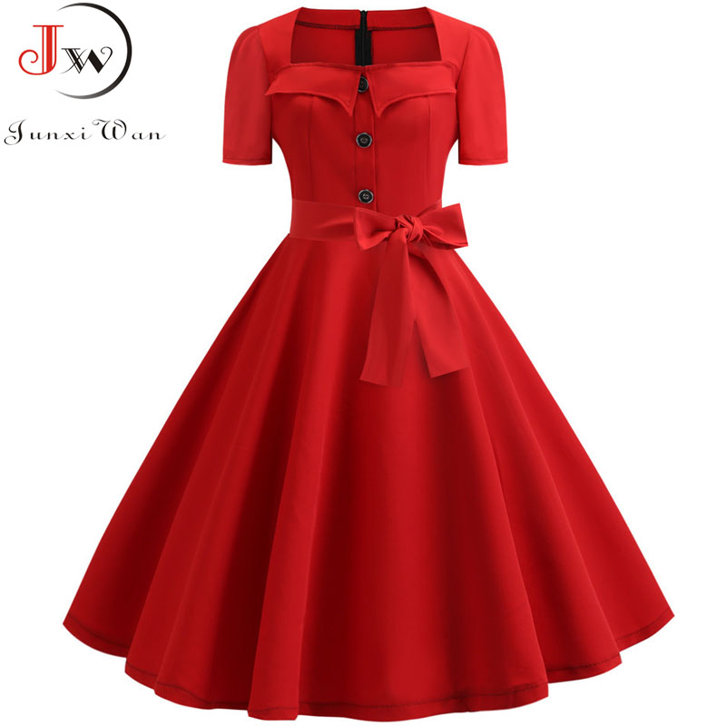 Women Summer Dress 2019 Elegant Retro Vintage 50s 60s Robe Rockabilly Swing Pinup Dresses Casual Plus Size Red Party Vestidos