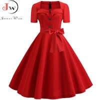 Women Summer Dress 2019 Elegant Retro Vintage 50s 60s Robe Rockabilly Swing Pinup Dresses Casual Plus Size Red Party Vestidos
