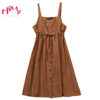 Mori Girl Women's Straps Overall Vintage Pink Black Corduroy Bandage Vestidos Korean Fashion Cute Button Up Dress Casual Clothes