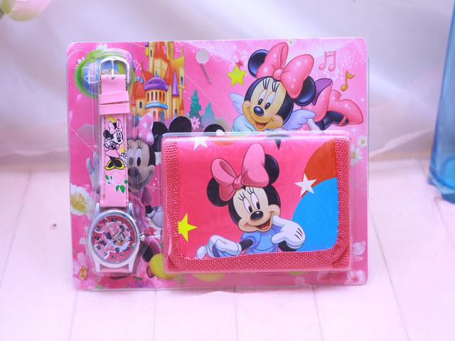 2018 New Children Cartoon Wallet Watch Set  Minnie Watches Students Birthday Gifts Quartz Leather Clock