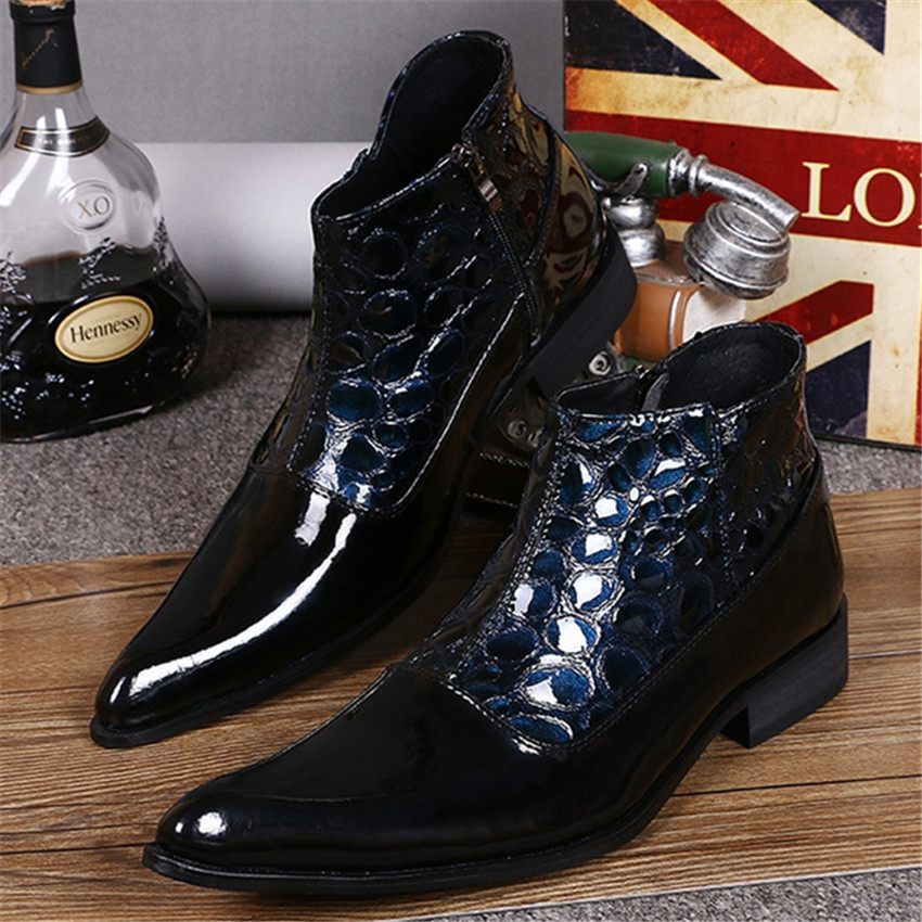 New Dark Blue Men Ankle Boots Spring Autumn Pointed Toe Genuine Leather Botas Hombre Pointed Toe Cowboy Booties Prom Dress Shoes