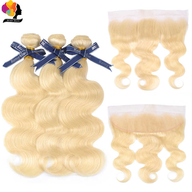 Blonde Bundles with Closure 613 Brazilian Hair Body Wave Bundles with Frontal Remy Human Hair Bundles 13x4 Lace Frontal Remyblue