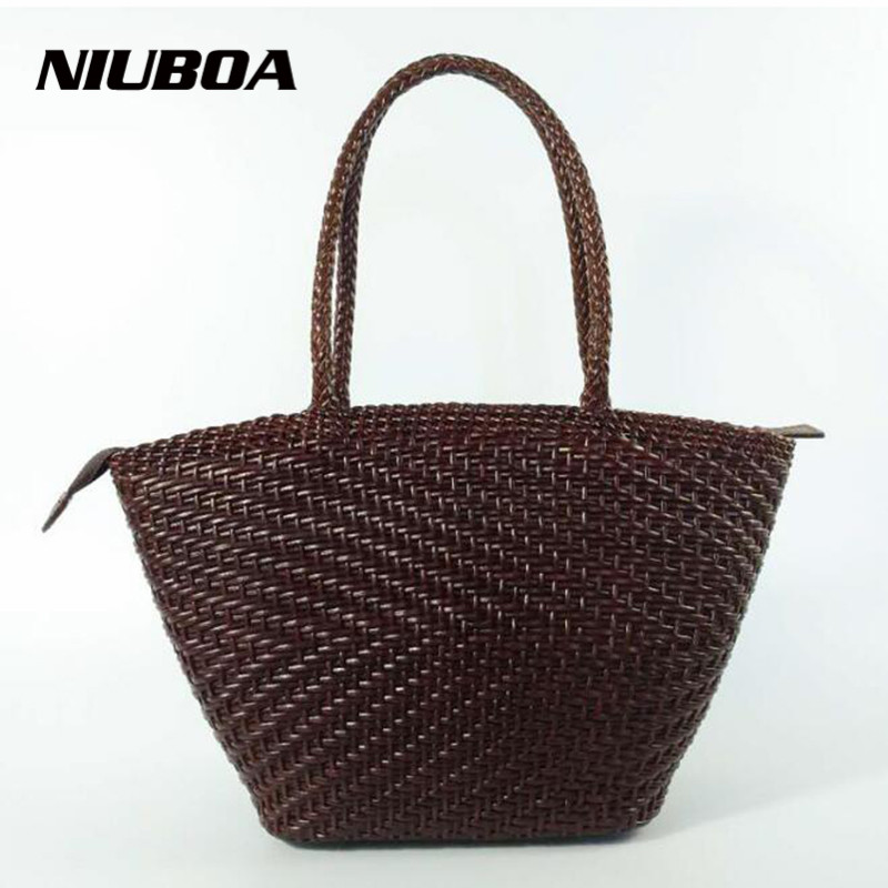 NIUBOA Genuine Leather Bag Women Euro Retro Trend Manual Woven Handbag Ladies Casual Cowhide Messenger Beach Bag Shoulder Bags 2015 66 yasiel puig 100
