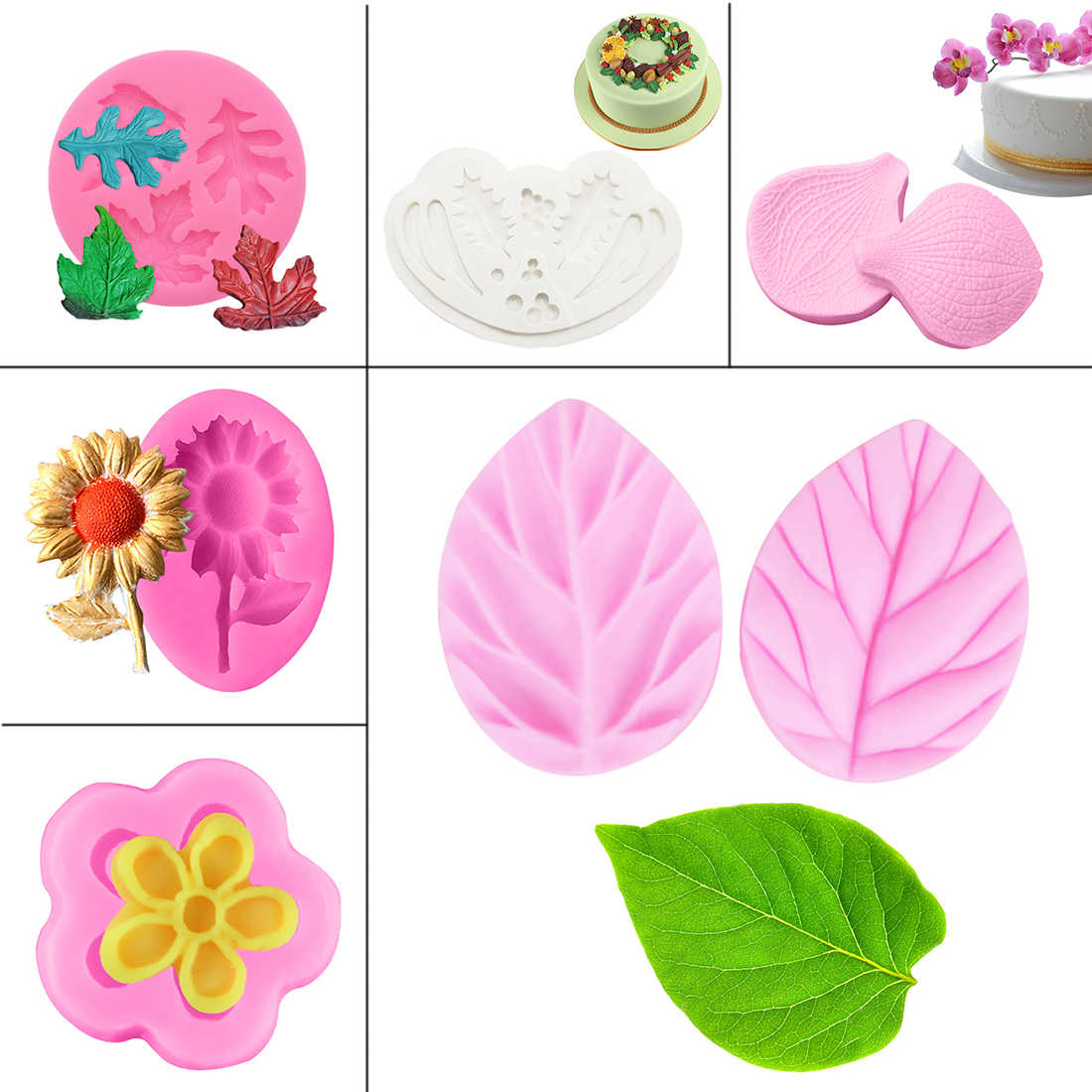 Soap Mould 1PC Flowers/Leaves Fondant Molds Cake Decorating Tools Chocolate Soap Mold Kitchen Cake Stencils