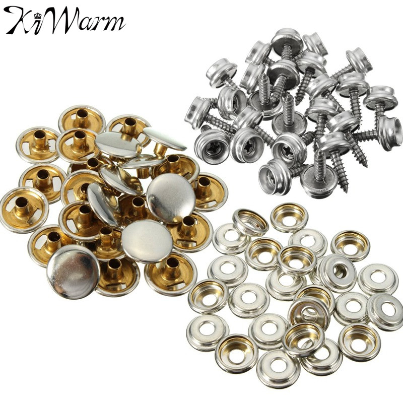 Hearty 15mm Snap Fastener Button Screw Studs Kit For Boat Cover Home Improvement Tent Marine Hardware