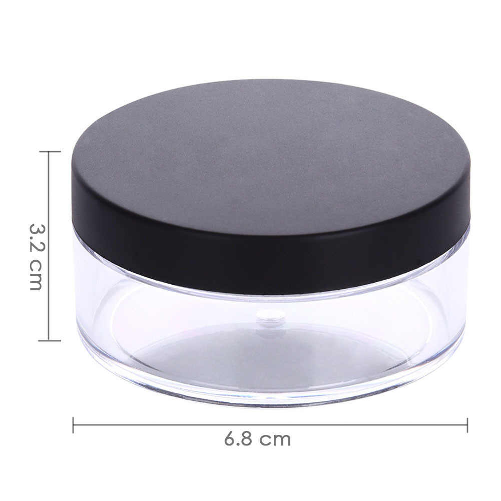 59fda6b399ec 2 PCS 50g Plastic Loose Powder Jar With Sifter Empty Cosmetic Container  Black Matte Cap Makeup Compact Loose Powder Containers