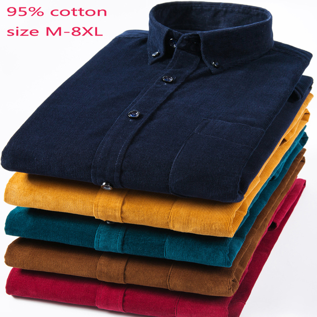 New Arrival Fashion Super Large Pure Cotton Corduroy Autumn Men Long Sleeve Casual Loose Large Casual Shirts Plus Size M 7XL 8XL