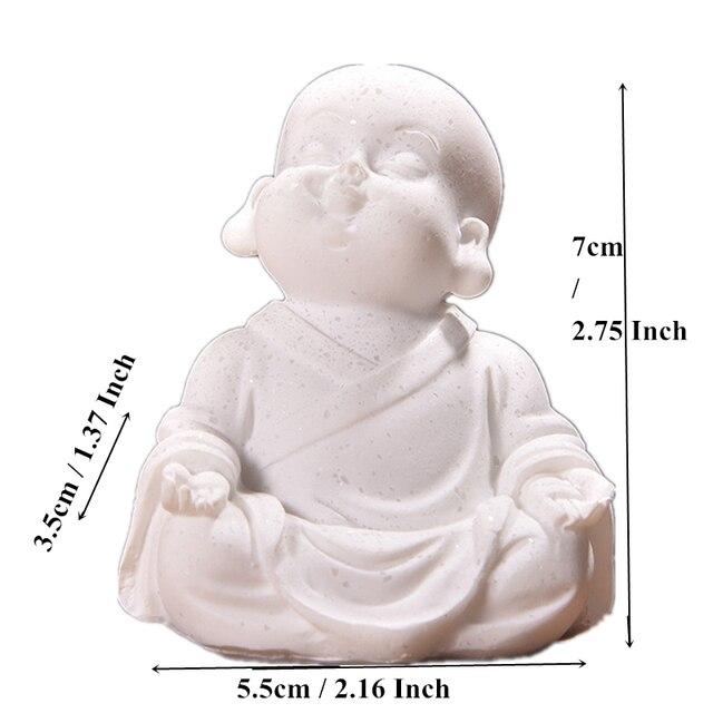 VILEAD 6cm 7cm Cute Little Monk Statue Sandstone Adorable Thailand Buddha Statuettes Lovely Figurine Home Decor Creative Gift 6