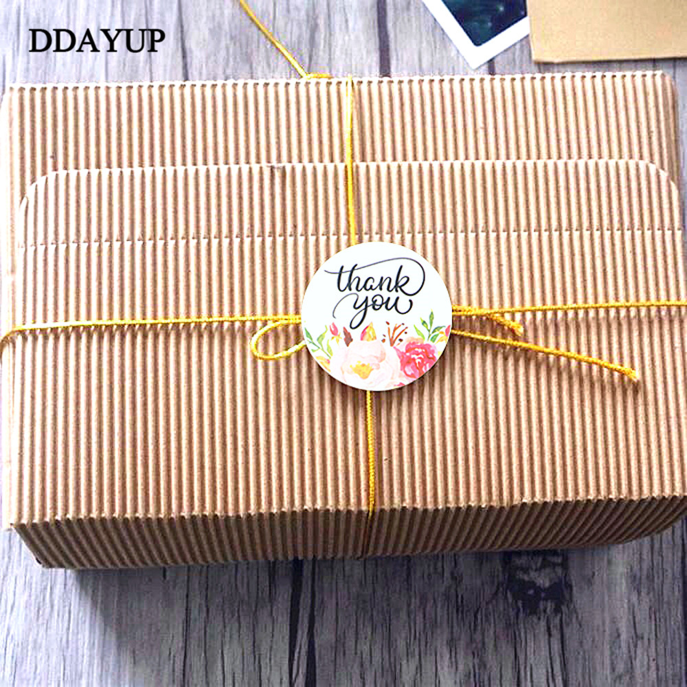 Купить с кэшбэком 120Pcs Flower Round Thank You Handmade Cake Packaging Sealing Label Kraft Sticker Baking DIY Gift Stickers