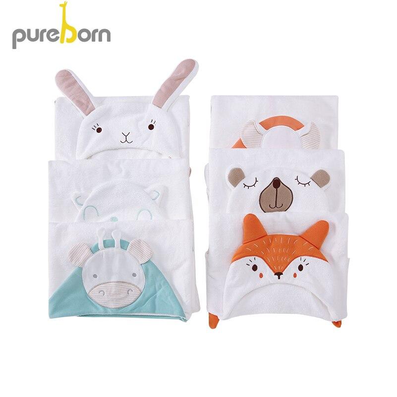 Pureborn Baby Bath Towel Hooded Blankets Baby Girls Boys Cartoon Cotton Bathing Towel Baby Stuff For Newborns