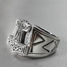 Viking Thors  Mjolnir Hammer Rings Mens Nordic Rune Silver Color Stainless Steel Ring Warrior Amulet Jewelry