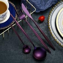 KuBac 24pcs set Purple Cutlery Top Stainless Steel Steak Knife Fork Blue Dinnerware Set black gold silver Drop Shipping