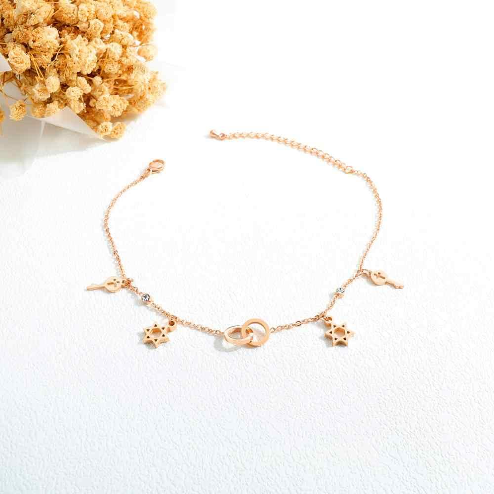 Летние ювелирные изделия для ног, розовое золото, шестиугольная звезда, круглые браслеты на щиколотку для женщин, Шарм из нержавеющей стали, подарок для девушек, Прямая поставка