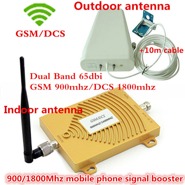 LCD Display Dual Band GSM DCS 900 1800 Mobile Signal Repeater , GSM 4G LTE FDD Cellular Signal Booster Amplifier with  Antennas