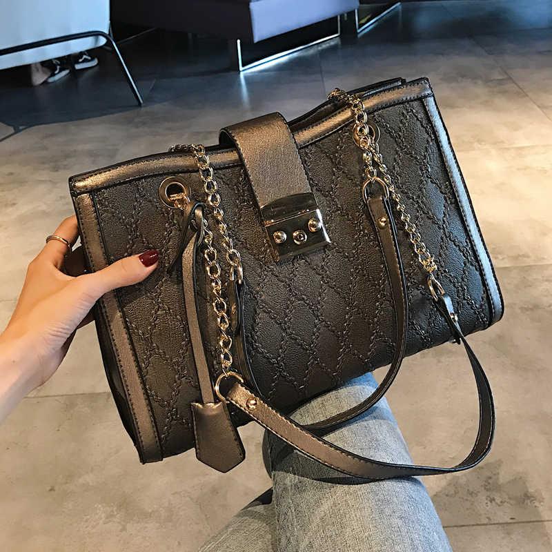 European Fashion Retro Female Tote bag 2018 New Quality PU Leather Women s  Designer Large Handbag Lattice ed0bd6e170870