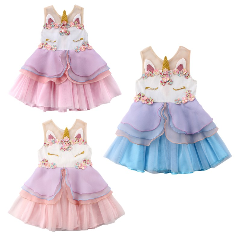 Toddler Kids Girls Floral Horse Ruffles Chiffon Sleeveless Tutu Dress Baby Girl Summer Vestidos Party Princess Wedding Dresses summer girl dress princess tutu toddler vestidos children clothing minnie sleeveless baby girls dresses casual kids clothes