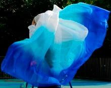 Alta qualidade mulheres seidenschleier sexy dança do ventre véu de seda da dança do ventre véu cachecol 100% autêntico branco + turquesa + real azul