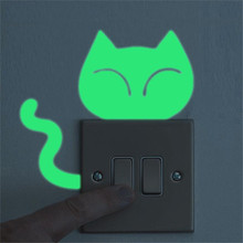 Animals Wall Stickers for Kids Room Cute Creative Kitten Cat Luminous Noctilucent Glow Switch Sticker Home Decor Removable Mural