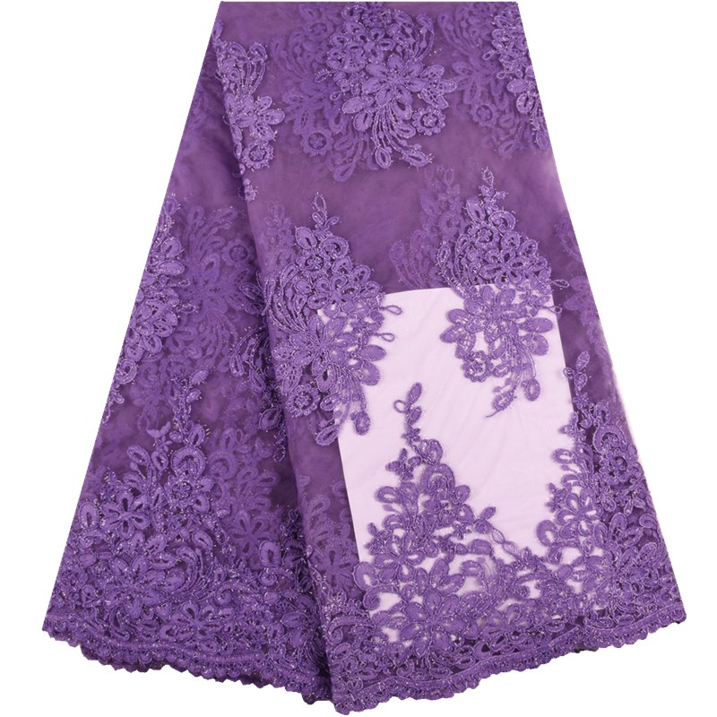 2019 On Sale Purple French Lace Fabric High Quality African Unique Tulle Mesh Lace Fabric Guipure