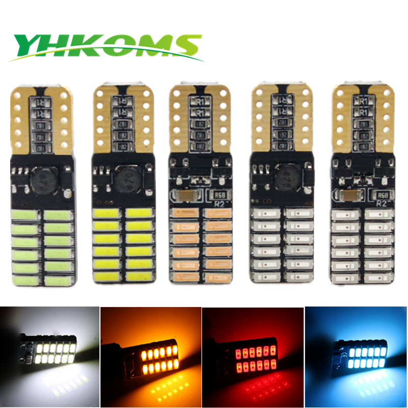 YHKOMS 4 Pcs <font><b>Canbus</b></font> <font><b>T10</b></font> <font><b>W5W</b></font> LED Bulb 194 168 LED Wedge Parking Light 24 SMD <font><b>4014</b></font> Car LED Light DC12V Car Marker Side Light Lamp image