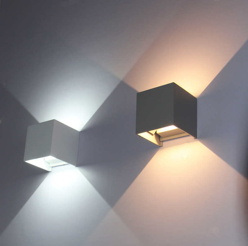 Cube IP65 Adjustable Permukaan Mounted Outdoor Led Lighting, Led Wall Light, Up Down Wall Porch Lamp