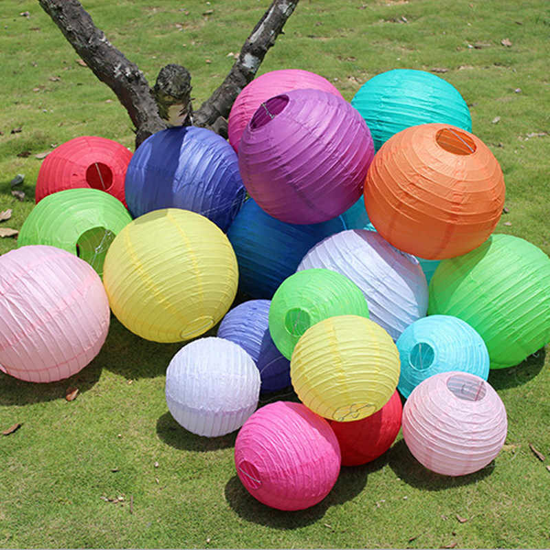 1pc 16Inch 40cm Paper Lanterns White Pink Hanging Lanterns Chinese Wishing Paper Lamp Wedding Birthday Decoration Party Supplies