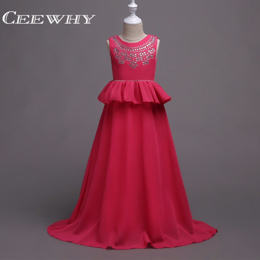 CEEWHY Ruffles Princess Kids Communion   Dresses   Chiffon Crystal   Flower     Girl     Dresses   For Weddings Party   Dress   Perform Chorus   Dress