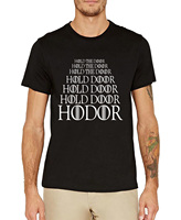 2016 Summer HODOR Letter Print Short Sleeve Cotton T Shirt Men Hold The Door Game Of