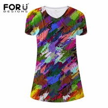 FORUDESIGNS Colorful Oil Painting Dress for Women Elastic Ladies Mini Dresses Supreme Short Sleeve Casual Sexy V-Neck Dres