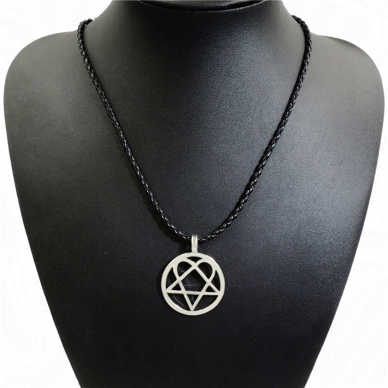 Heartagram Star Heart Him SIlver Tone Mens Womens Pewter Pendant Necklace LP215