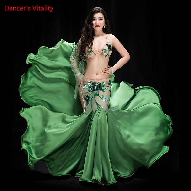 Luxury Professional Belly Dancing Costumes Set Performance 2pcs Bra Wrapped fishtail skirt Belly Dance Oriental Costume