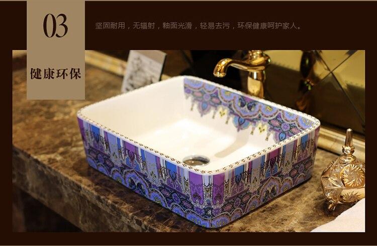 Rechthoekige Witte Wastafel : Rechthoekige jingdezhen badkamer keramische gootsteen wastafel