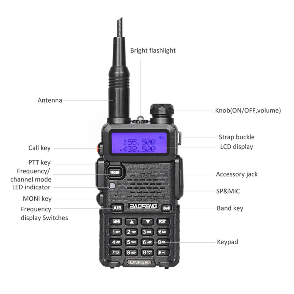 band digital Baofeng DM-5R Dual Band DMR Digital Walkie Talkie Transceiver  VHF UHF 136-174/400-480MHz Long Range Two Way Radio Interphone (2)