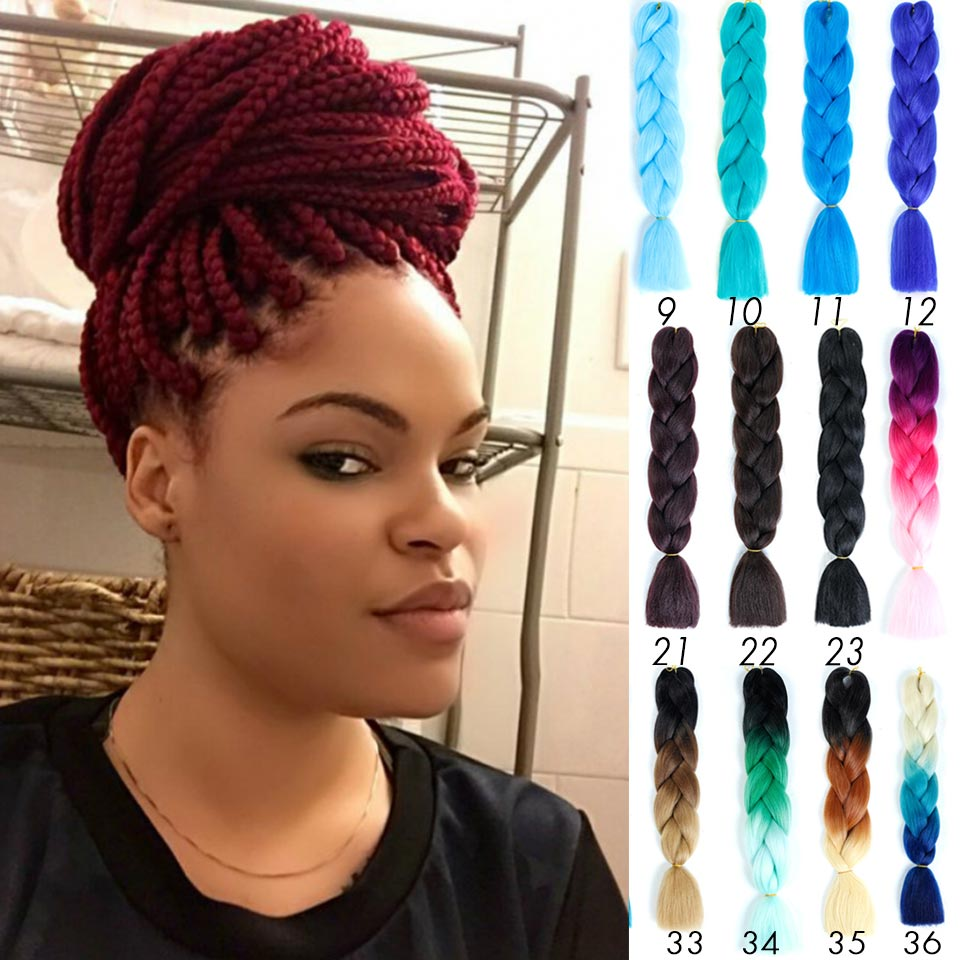 HiDoLA Jumbo Braid hair Ombre Two Tone color Xpression For Dreadlocks braiding Synthetic Hair Extensions   headwear