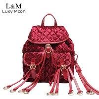 Luxy luna Mujeres Mochila A Cuadros Rojo de La Marca de Moda Mochilas de Cuero de LA PU Bolsa de Viaje Mochila Para Las Adolescentes Oro Terciopelo XA1055H