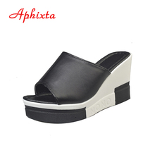 Aphixta Summer Wedge Slippers Flower Hollow Platform High Heels Women Shoes Ladies Outside Basic Wedge Slipper Sandals CN39-40